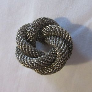 Vintage Metal Braid Knot Pin Brooch